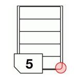 Self-adhesive glossy white labels rounded corners for laser printers and copiers - 5 labels on a sheet