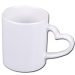 Sublimation mug with heart shape handle