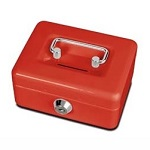 Cash box with coin slot - red