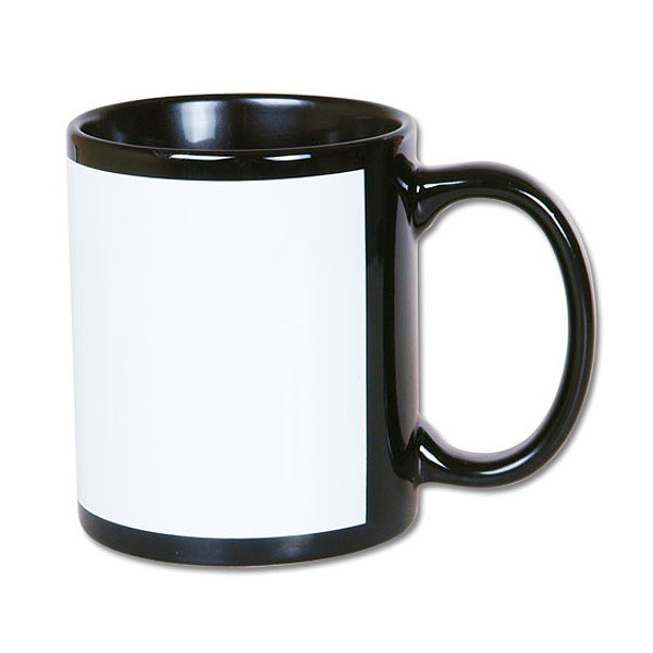 Black mug with white field for sublimation