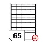 Self-adhesive glossy white photo labels rounded corners for inkjet printers -65 labels on a sheet