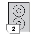 Self-adhesive labels CD / DVD for all types of printers- 2 labels on a sheet