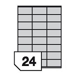 Self-adhesive polyester film labels for inkjet printers - 24 labels on a sheet