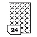 Self-adhesive, translucent polyester film labels for laser printers and copiers - 24 labels on a sheet