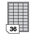 Self-adhesive polyester film labels for laser printers and copiers - 36 labels on a sheet