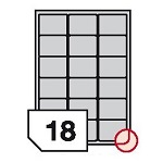 Self-adhesive polyester film labels rounded corners for laser printers and copiers - 18 labels on a sheet