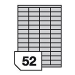 Self-adhesive polyester film labels for laser printers and copiers - 52 labels on a sheet