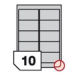 Self-adhesive polyester film labels rounded corners for laser printers and copiers - 10 labels on a sheet
