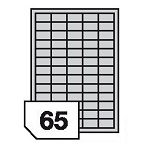 Self-adhesive, polyethylen, universal film labels - 65 labels on a sheet