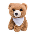 Light-brown Teddy bear with a white scarf for sublimation