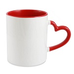Sublimation mug with colour inside and heart shape handle