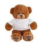 Light-brown teddy bear with a white T-shirt suitable for printing