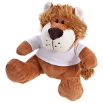 Brown teddy lion with a white T-shirt suitable for printing