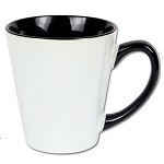Latte mug for sublimation with colour handle and inside