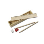 School set - wooden pencil case with front - ruler to print