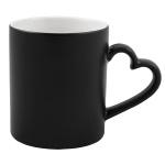 Matte color changing sublimation mug with heart shape handle