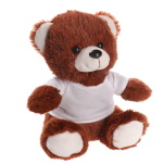 Dark-brown teddy bear with T-shirt suitable for sublimation