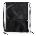 Drawstring bag with zipped front pocket