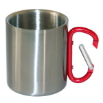 Metal inox mug for sublimation outprint with red handle carabiner type