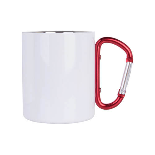 White metal inox mug for sublimation outprint with red handle carabiner type