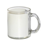 Translucent glass mug with white field for sublimation