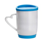Sublimation mug with heart shape handle - a colorful silicone lid and stand