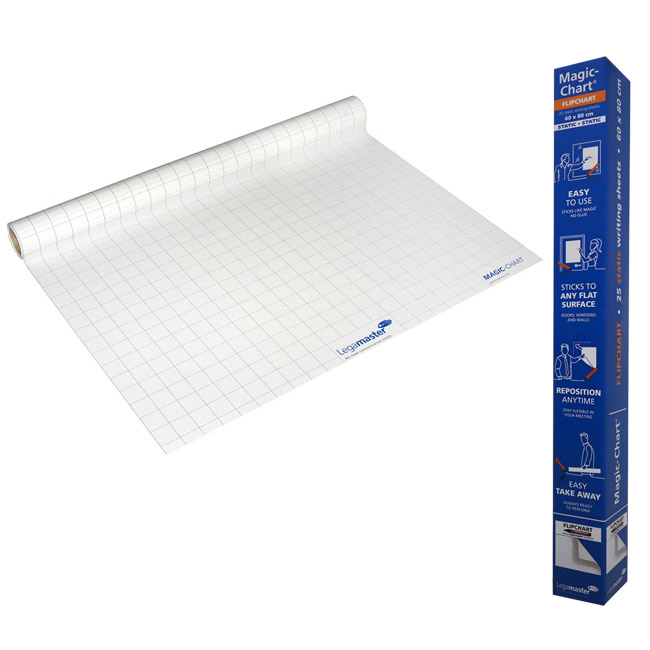 Magic Chart fully gridded - self-adhesive flipchart not dry-wipe film with marker