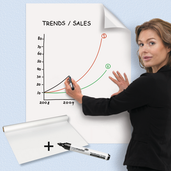 Magic Chart whiteboard - self-adhesive flipchart film with marker
