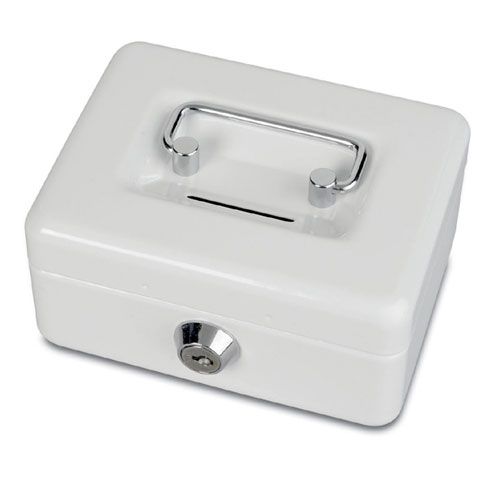 Cash box with coin slot - white
