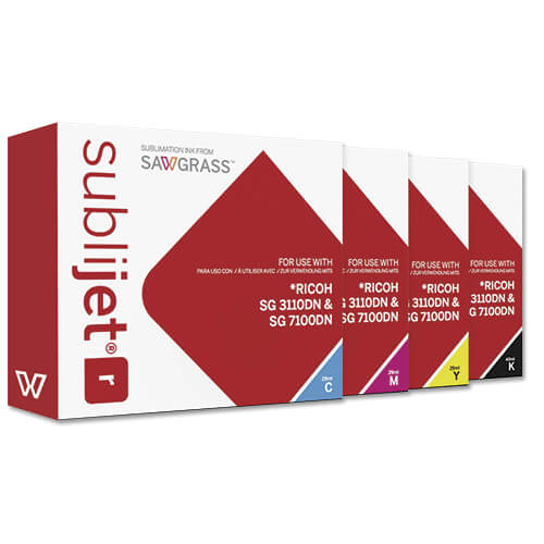 Ricoh Aficio SG 3110DN printer with set of Sublijet cartridges