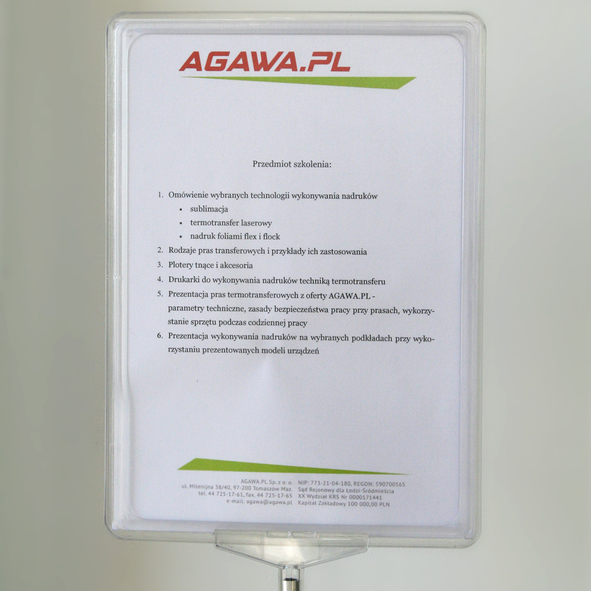 Poster stand with transparent plastic frame (size A4)