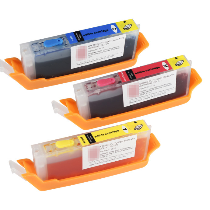 Set of edible cartridges Canon CLI 571 CMY