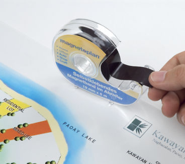 Self-adhesive magnetic tape with dispenser