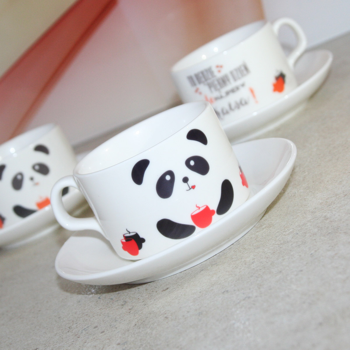 Cup with saucer and spoon for sublimation