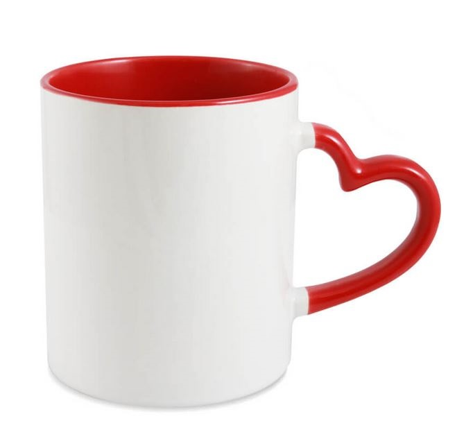 Sublimation mug with colour inside and heart shape handle