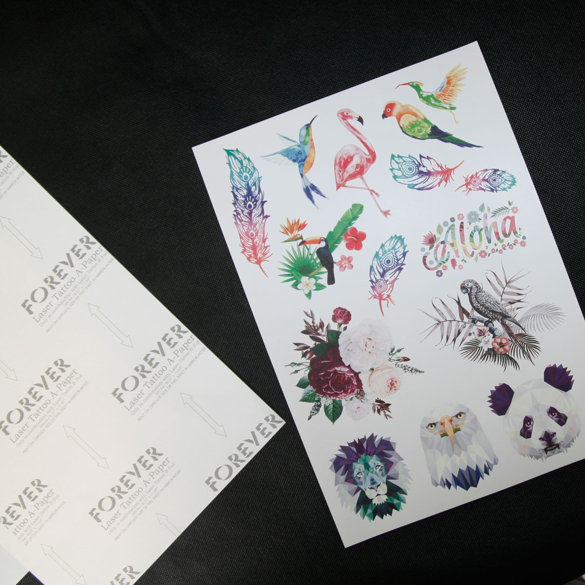 Removable tattoo paper for laser printers