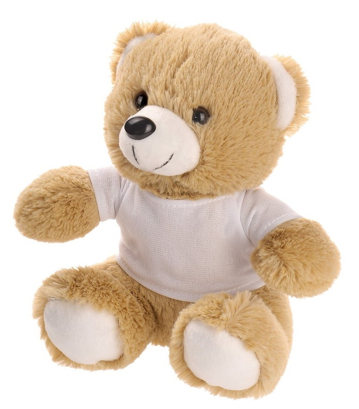 Beige teddy bear with T-shirt suitable for sublimation