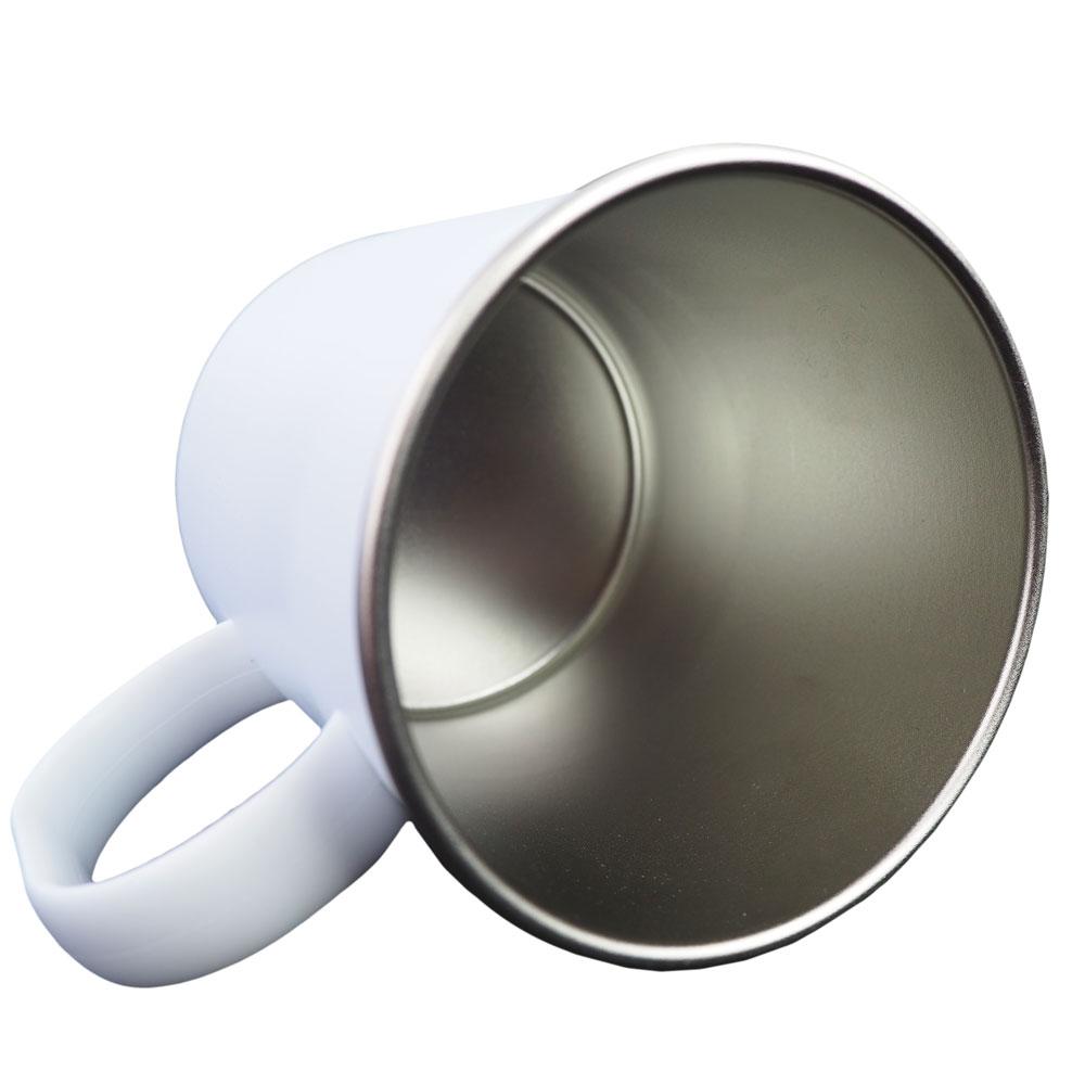 White, matt, polymer mug for sublimation with a metal interior