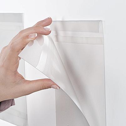 Self-adhesive leaflet pocket