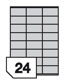 Self-adhesive polyester film labels for laser printers and copiers - 24 labels on a sheet