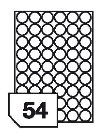 Self-adhesive glossy white photo labels for inkjet printers - 54 labels on a sheet