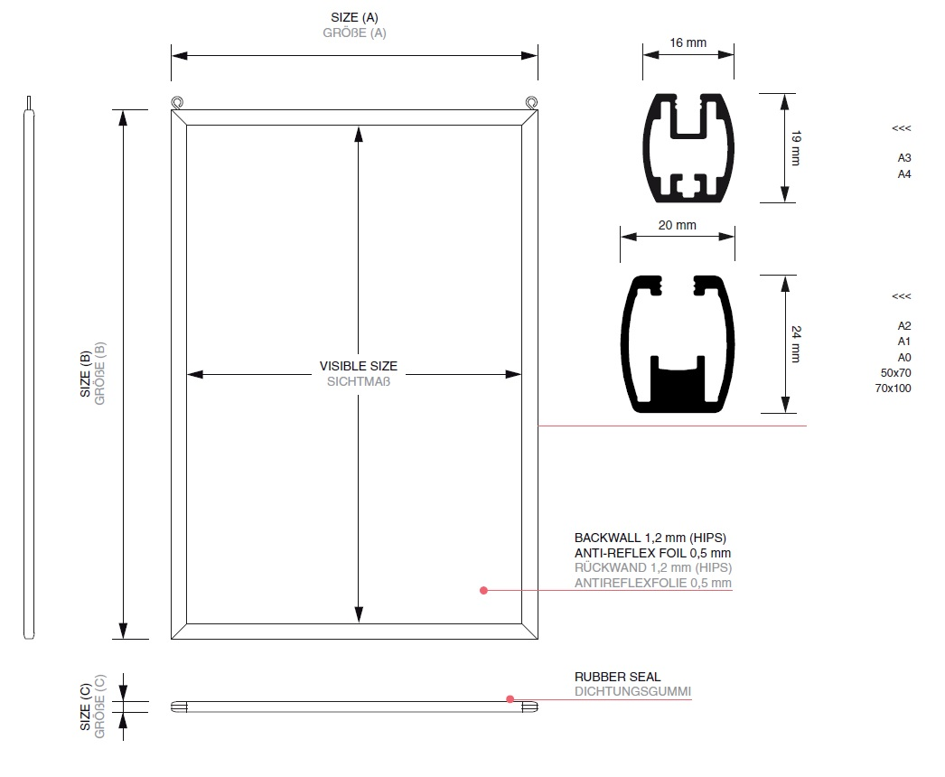 Double-sided poster frame with sharp corners