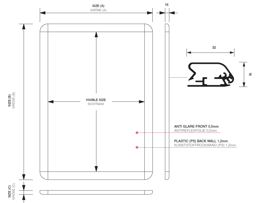 Snap frame with rounded corners